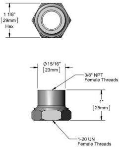 1''-20 UN x 3/8'' Adapter Fitting Rigid to Swivel